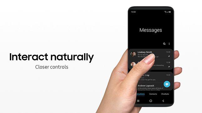 Samsung One UI: interfejs, w którym wszystkie elementy mają być w zasięgu kciuka. Źródło: materiały prasowe Samsung.