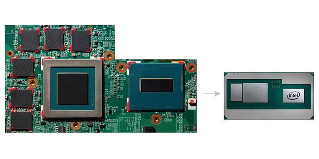 """Rozproszone po płycie procesor, grafika i pamięci trafią na jeden """"układ"""" dzięki mostkowi EMIB."""