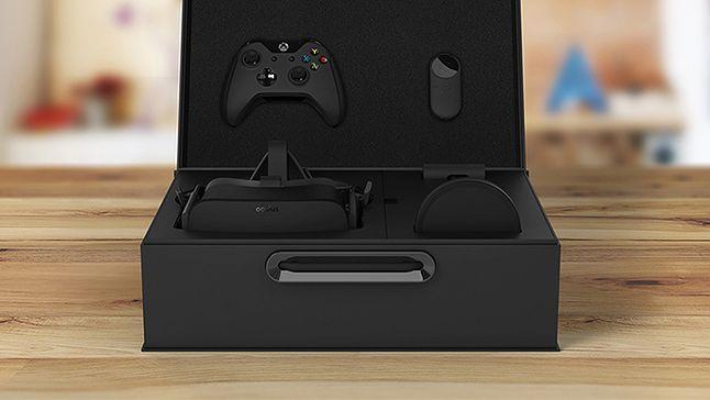"""Gogle, kontroler Xbox One z odbiornikiem PC, mini pilot """"powietrzny"""", mikrofon i słuchawki"""
