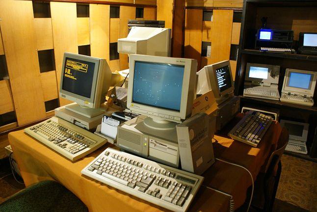 Fragment ekspozycji komputerów klasy PC XT i AT, materiały Muzeum