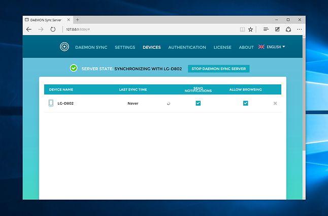 Webowy panel DAEMON Sync