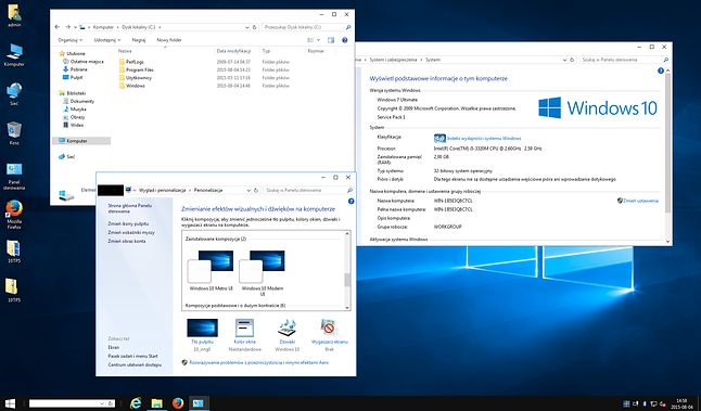 Windows 7 z zainstalowanym Windows 10 Transformation Pack