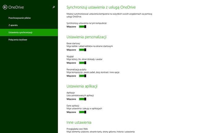 Opcje synchronizacji w Windows 8.1