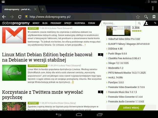 Na domyślnej przeglądarce Androida nasz portal działa bez zarzutu