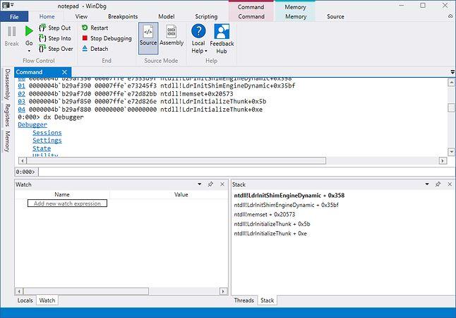 Interfejs WinDbg Preview jest teraz spójny z oknami eksploratora Windowsa 10, źródło: blogs.windows.com