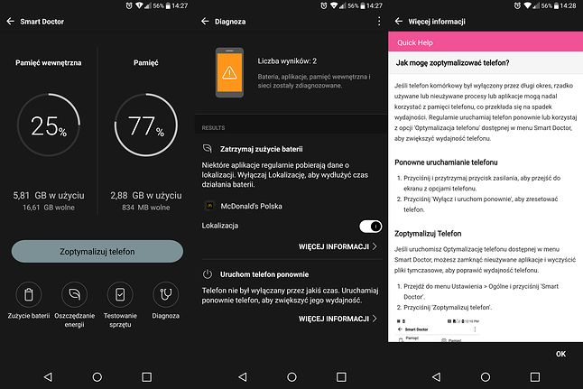 Smart Doctor w LG G6 podpowiada jak dodatkowo zoptymalizować telefon
