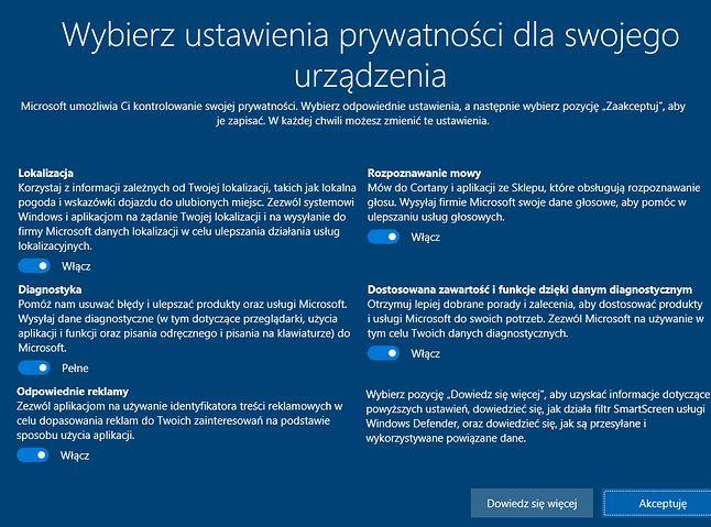Ustawienia prywatności, na które natkniemy się po raz pierwszy konfigurując komputer z Windows 10 Creators Update