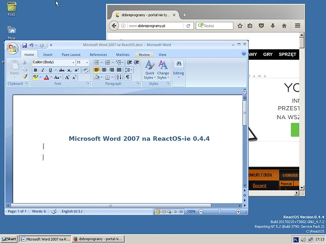 Krok po kroku ReactOS coraz lepiej sobie radzi z oprogramowaniem Microsoftu