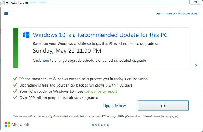 Upgrade now, OK, oraz przycisk zamknięcia: wszystkie działały tak samo