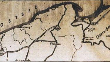 """Kryptologia XX wieku — Enigma — """"transplantacja"""" - Fragment niemieckiej mapy przedstawiającej korytarz do Prus Wschodnich"""