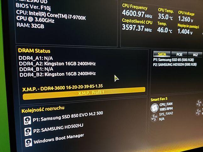 BIOS po aktualizacji profilu