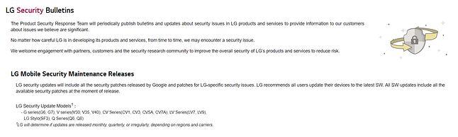 Lista modeli, które LG uwzględnia podczas aktualizacji bezpieczeństwa, źródło: LG.