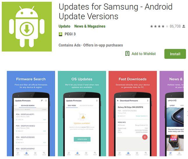 Updates for Samsung - Android Update Versions w Sklepie Play, źródło: CSIS.