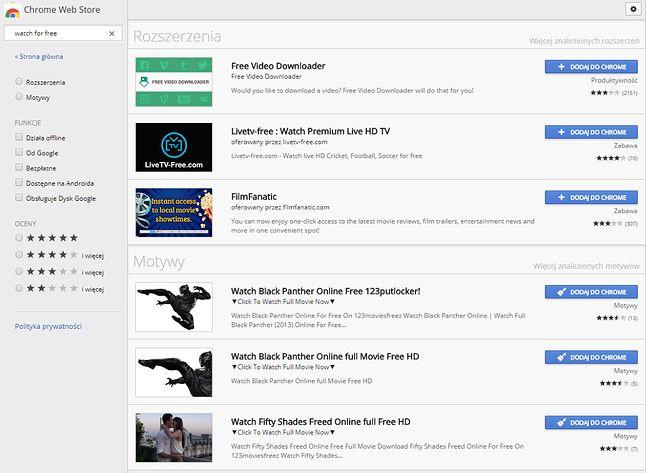 Opisy dodatków w Chrome Web Store czasem bez owijania w bawełnę wskazują, że coś jest nie tak. Na powyższym zrzucie widać opisywany wcześniej problem ze szkodliwymi motywami.