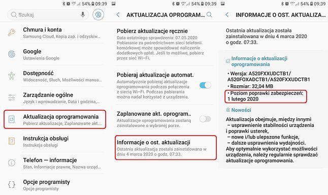 Opcje aktualizacji na przykładzie Samsunga Galaxy A5 (2017). Tutaj wciąż tylko poprawki z lutego 2020 roku, fot. Oskar Ziomek.