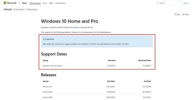 Informacje o wsparciu Windows 10 w dokumentacji