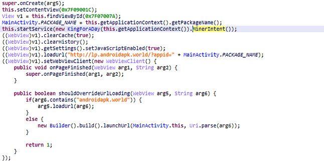 Fragment kodu aplikacji kopiącej kryptowalutę. Źródło: AO Kaspersky Lab.