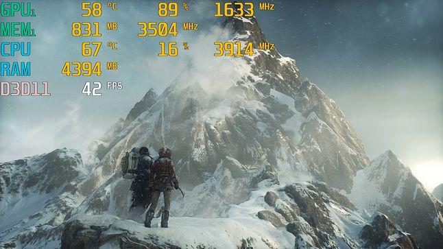 Rise of the Tomb Raider / 1080p, ust. średnie, FXAA / śr. – 40,6 fps; min. – 37 fps