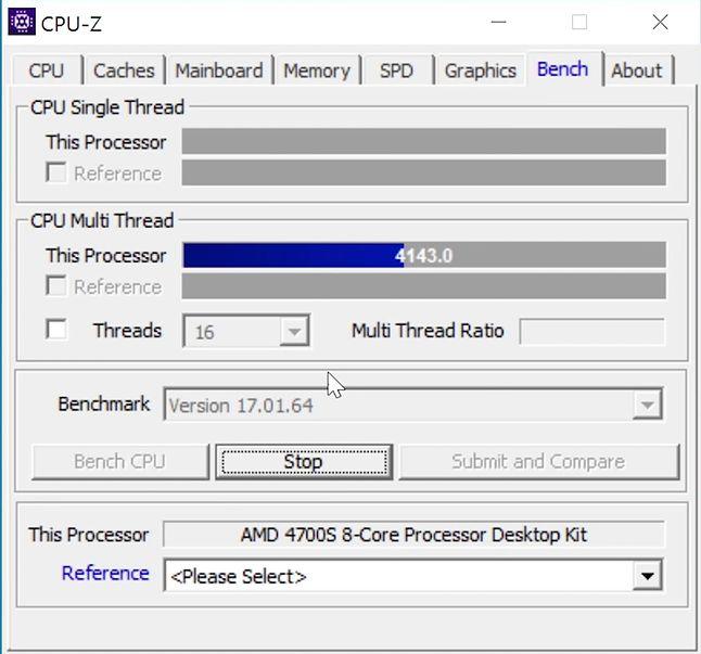 4143 PKT W BENCHMARKU CPU-Z 17.01 64-bit