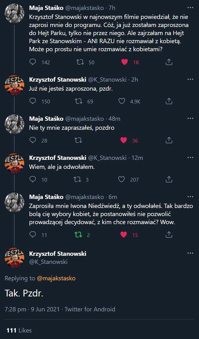 Maja Staśko i Krzysztof Stanowski kłócą się