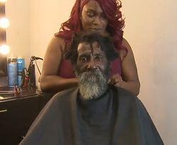 Fryzjerka odmieniła bezdomnego. Popłakał się, gdy zobaczył, jak wygląda