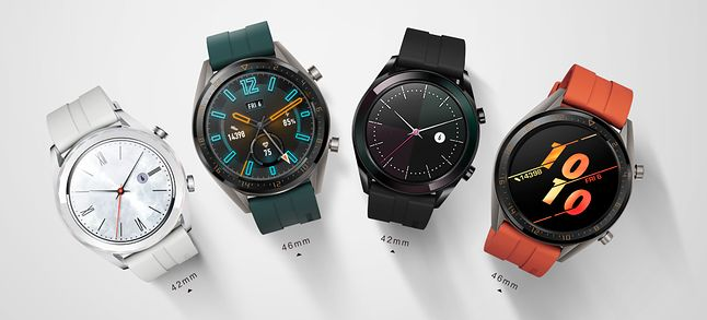 Nowe smartwatche Huawei, od lewej na zmianę modele Elegant i Active.
