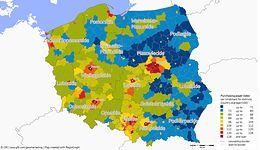 W Polsce rośnie przepaść między biednymi i bogatymi. Linia podziału idzie wzdłuż rzeki