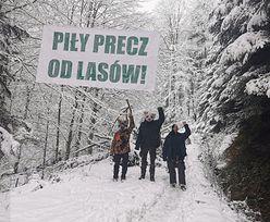 Wycinka lasów. Pomimo minusowej temperatury ekolodzy protestują w otulinie Bieszczadzkiego PN