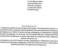 Afera SKOK. Zawiadomienie do prokuratury w sprawie nadzoru Kasy Krajowej