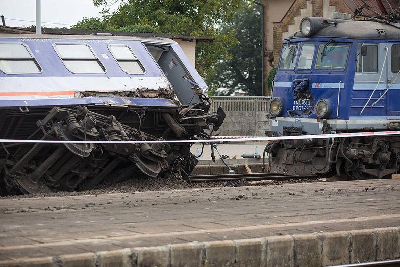 Wykolejony pociąg w Smętowie