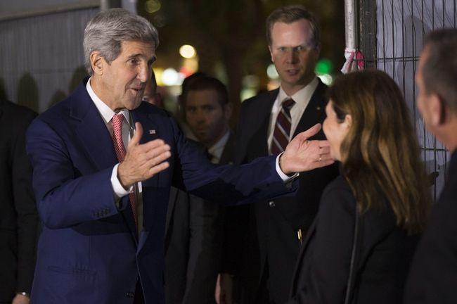 John Kerry z Dalią Rabin-Pelossof, córką zamordowanego premiera Izraela