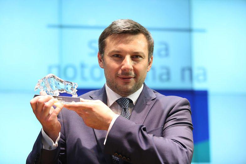 11.07.2014. Prezes Altus TFI Piotr Osiecki w czasie debiutu spółki na głównym rynku GPW.