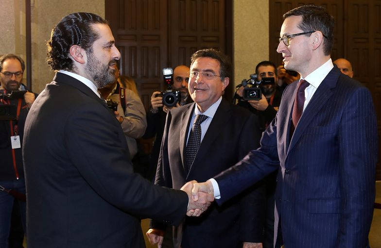 Premier RP Mateusz Morawiecki podczas oficjalnej wizyty w Libanie. Szef polskiego rządu spotkał się z premierem Libanu Saadem Haririm