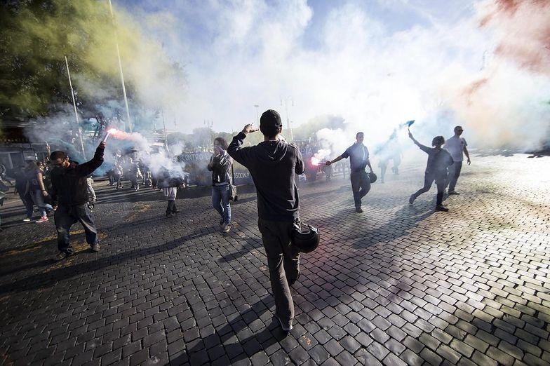 Protesty w centrum Rzymu