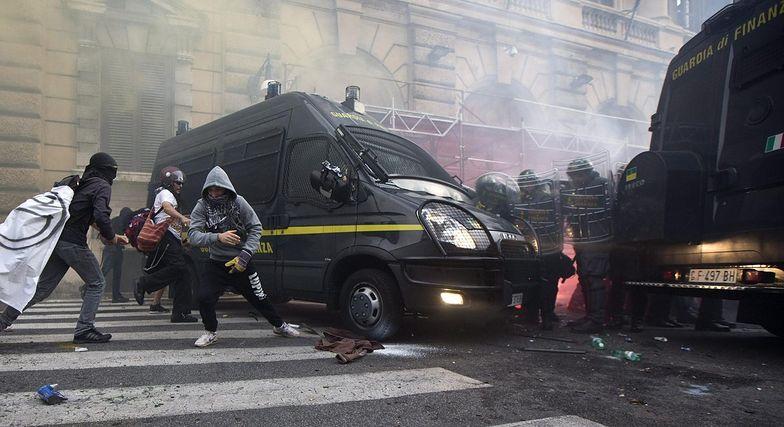 Starcia z policją podczas wielotysięcznej manifestacji w Rzymie