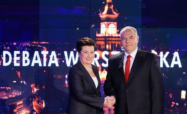 Debata wyborcza Hanny Gronkiewicz-Waltz i Jacka Sasina. Zaczęła się od... zaproszenia
