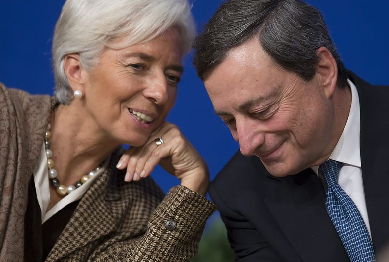 Po prawej Christine Lagarde, szefowa MFW</br>