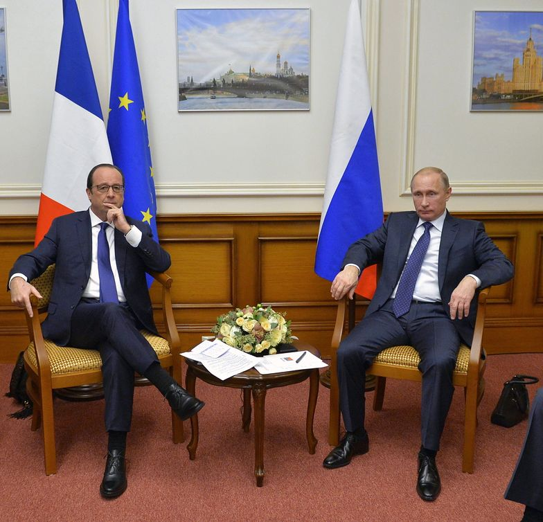 Wojna na Ukrainie. Spontaniczne spotkanie prezydentów Rosji i Francji