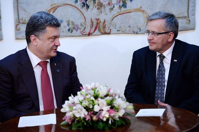 Prezydenty Komorowski podczas spotkania z Poroszenko
