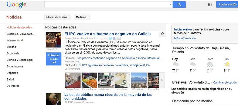 Tak wyglądała dziś strona główna hiszpańskiego Google News</br>w momencie publikacji tekstu