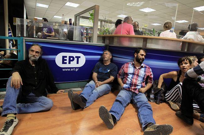 Protestujący dziennikarze