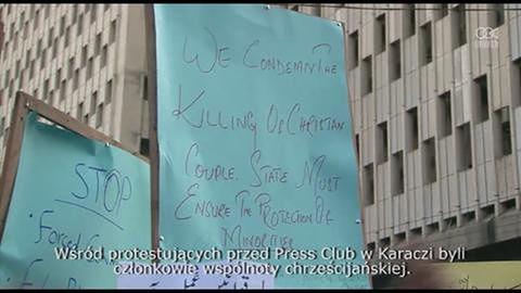 Protest przeciwko zamordowaniu chrześcijańskiego małżeństwa