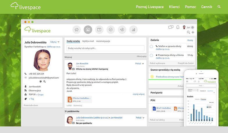Livespace to polski narzędzie, które aktywnie wspomaga handlowców
