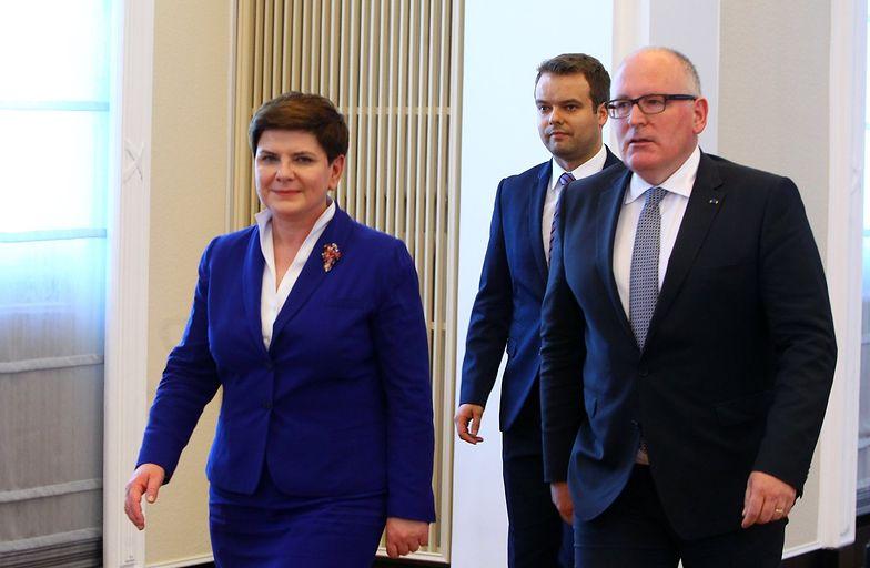 Na zdjęciu premier Beata Szydło i wiceprzewodniczący Komisji Europejskiej Frans Timmermans, Warszawa, czerwiec 2016