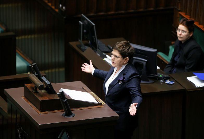 Beata Szydło na sejmowej mównicy