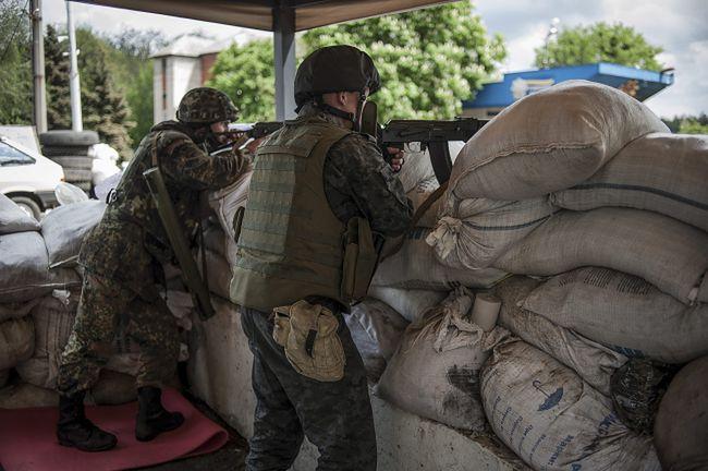 Punkt kontrolny ukraińskiej armii w okolicy Słowiańska
