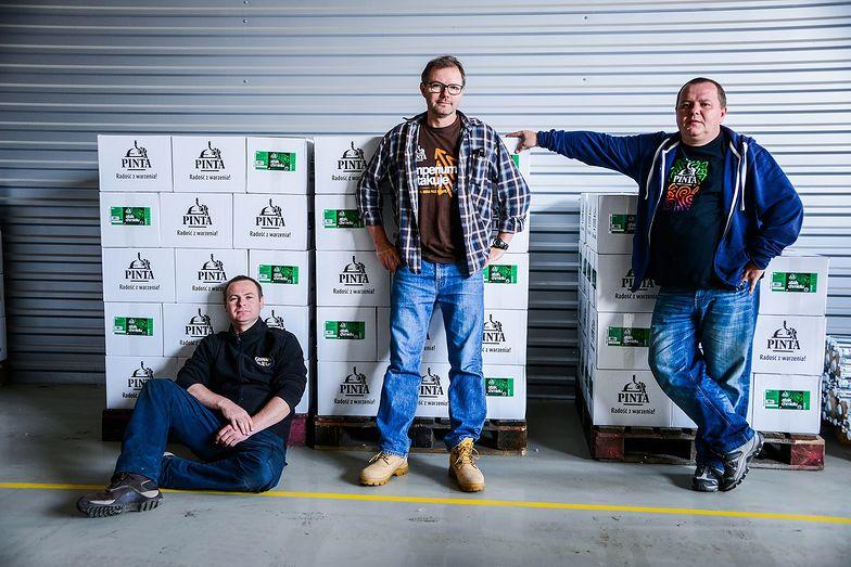 Browar PINTA: od lewej Marek Semla, Ziemowit Fałat, Grzegorz Zwierzyna.