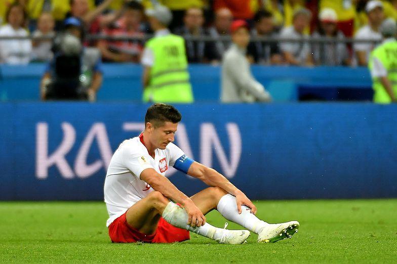 Robert Lewandowski podczas meczu mistrzostw świata z Kolumbią.