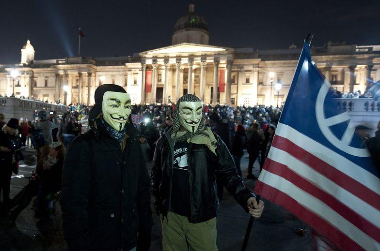 Policja starła się z sympatykami Anonymous