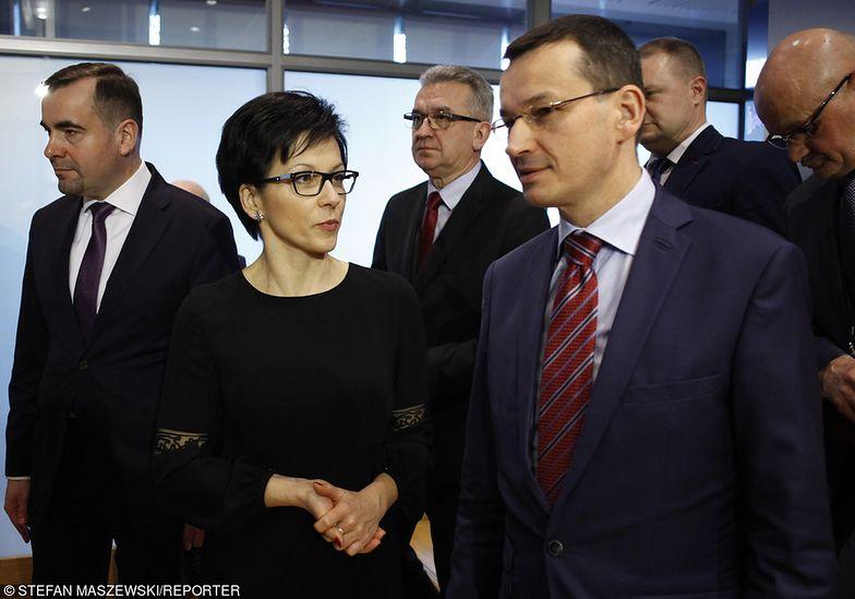Na głównym planie dotychczasowa prezes GPW Małgorzata Zaleska i wicepremier Mateusz Morawiecki, odpowiedzialny w rządzie za nadzór właścicielski nad spółką.
